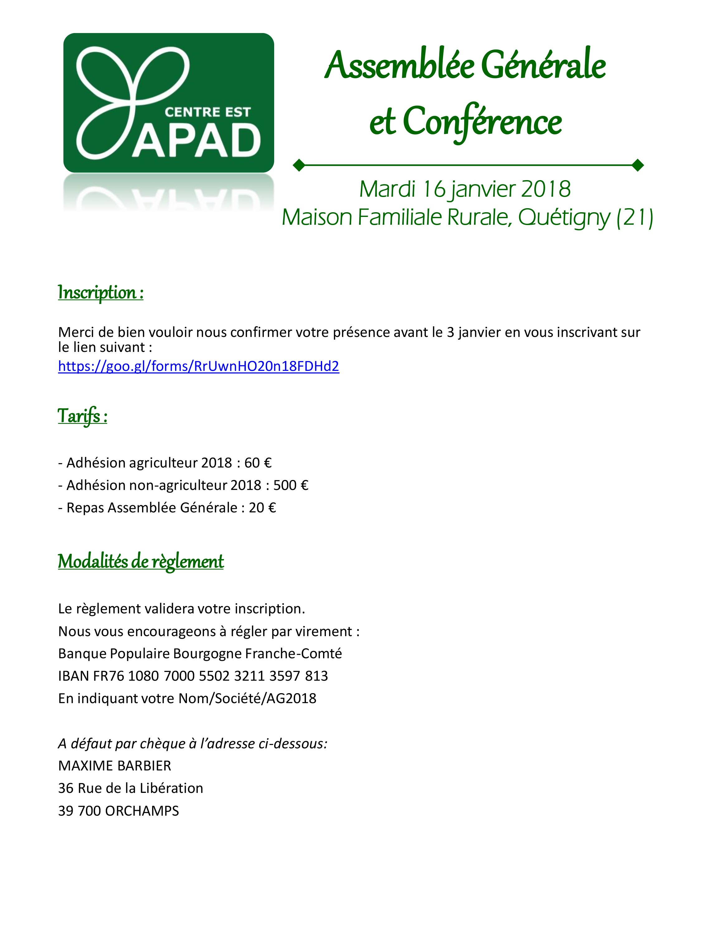 Invitation AG APAD 2018 modalite inscription